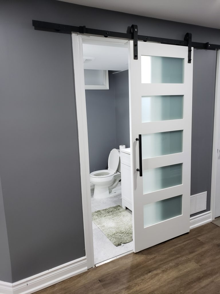 Bathroom with sliding door