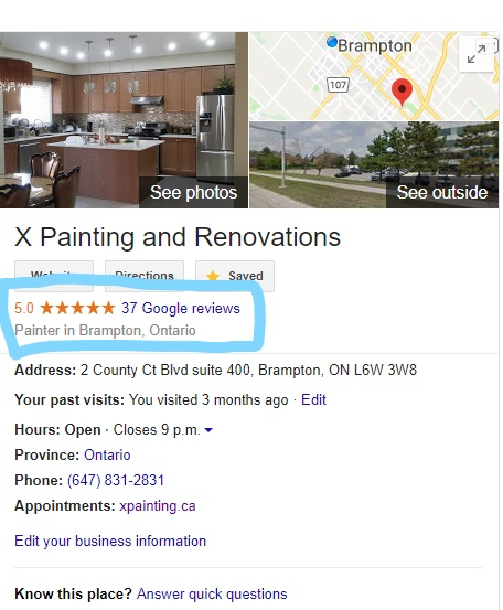 X Painting Renovations on Google